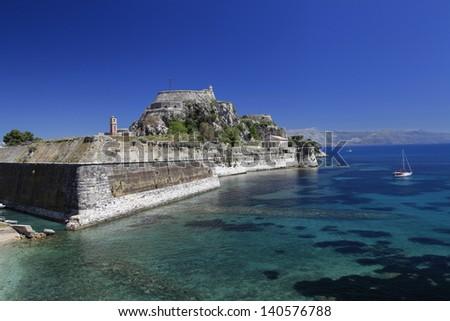Byzantine Old Fort in Corfu, Greece - stock photo