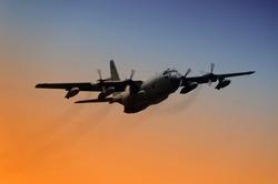 C-130 Cargo plane at dawn