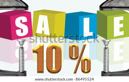 C clamp and Sale 10 %  illustration text boxes