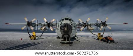 C130 Hercules on Ice Runway in Antarctica