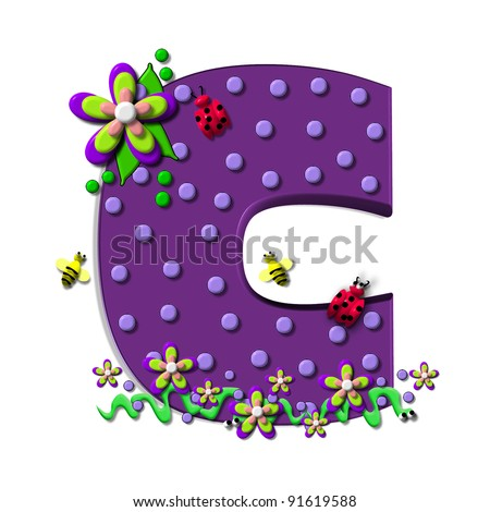 "C, in the alphabet set ""Buzzing Garden"", is decorated with three dimensional polka dots and a three layer flower.  Purple letters are decorated with lady bugs, snakes and bees."