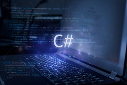 C# inscription against laptop and code background. Learn c sharp programming language, computer courses, training.
