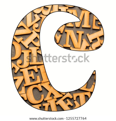 C, Letter of the alphabet - Wooden letters. White background #1255727764
