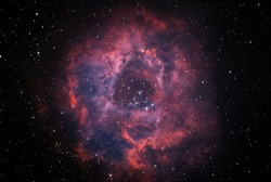 C49 or NGC2244 nebula also know as Rosette in bicolor palette taken with dedicated astrophotography camera on the telescope