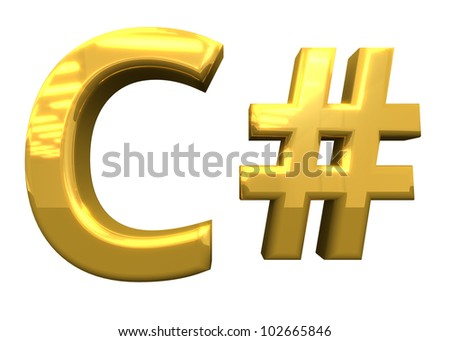C++ programming, 3d block letters, gold. White background.