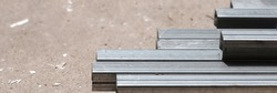 C-shaped steel bar on the ground. For construction