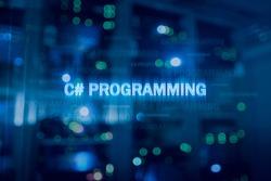 C sharp programming language and server room background. C# programming.