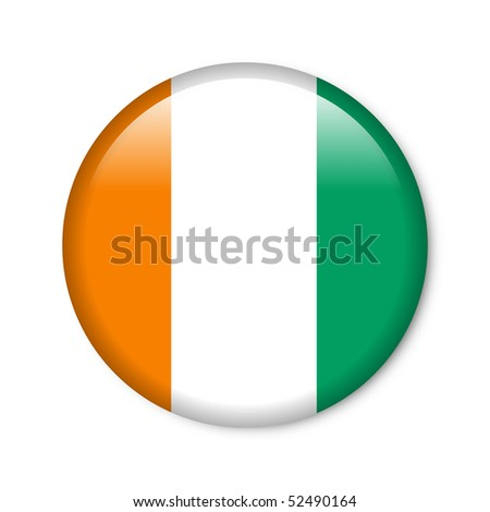 Côte d'Ivoire - glossy button with flag