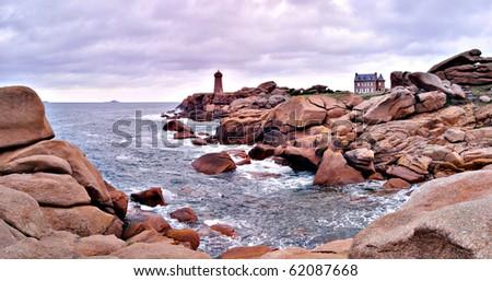 C�´te de Rose. Pink granite coast. Panorama. France