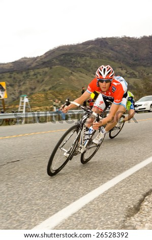 CA – FEB 22: Frank Schleck of Luxembourg (Team Saxo Bank), rides downhill during the final stage of the Amgen Tour of California on February 22, 2009. Schleck won the stage.