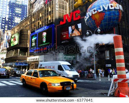 Cab approaching in New York's Times Square