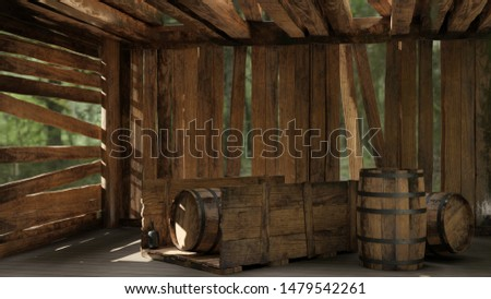 Cab in the woods, Cab, Wooden, Wood, Old, Barrel, Wagon, Damaged, Woods, Forest, Illustration, 3D, rendering, 3D Rendering