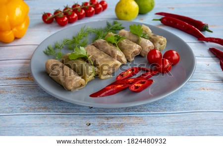 Cabbage appetizer on wooden background - healthy food, wellness - lahana sarması Stok fotoğraf ©