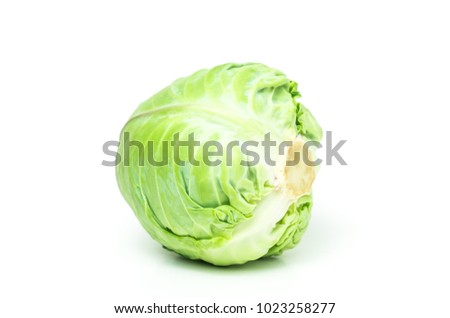 cabbage (Brassica oleracea var. capitata) is vegetable fresh isolated contains high vitamin C and many nutrients on white background and clipping path