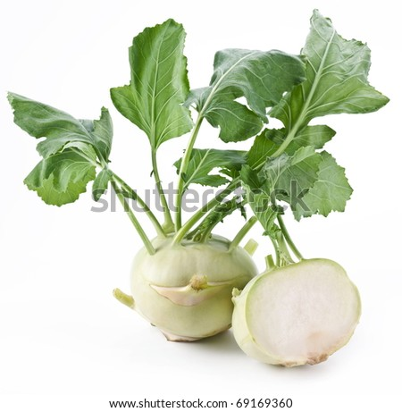 Cabbage kohlrabi on a white background