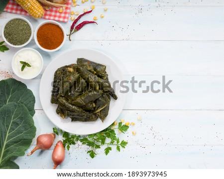 Cabbage Rolls. ( Turkish ; Kara Lahana Sarması )  Turkey hometown. Black Sea region food culture. Stok fotoğraf ©