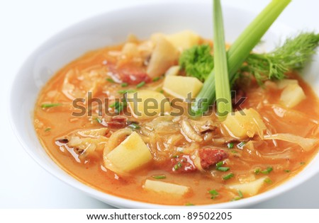 Cabbage soup with potatoes and sausage