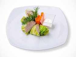 Cabbage stuffed with meat on a plate