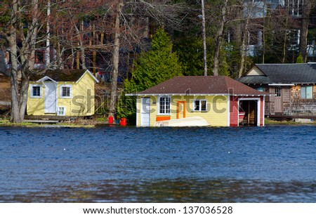 Cabin and a boathouse