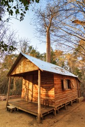 Cabin in the dry forest of Kirindy Mitea National Park, in Madagascar