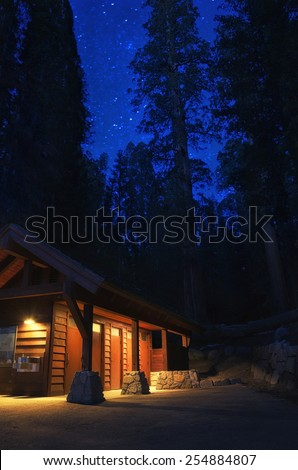 Cabin In The Woods At Night With Redwoods