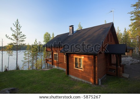 Cabin on the edge of a lake