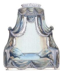 Cabinet des Modes or New Modes, 15 Jul 1786, pl. II, A.B. Duhamel, after Pugin, 1786 four-poster bed, vintage engraving.