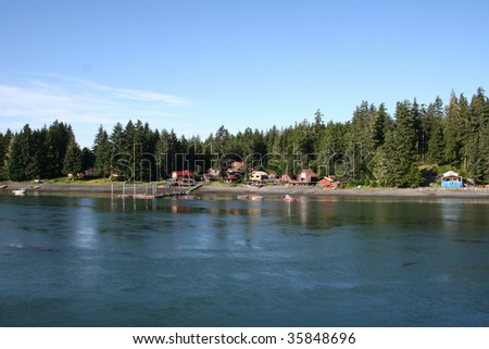 Cabins and lodge along the Wrangell Narrows in Southeastern Alaska's Inside Passage