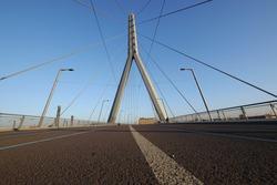 Cable bridge over the railroad tracks