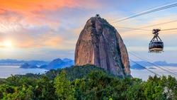 Cable car and  Sugar Loaf mountain in Rio de Janeiro