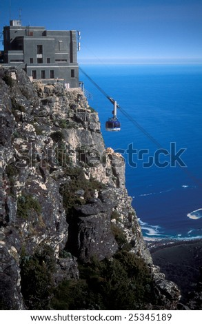 Cable car approaching the station on top of table Mountain, Cape Town, South Africa.