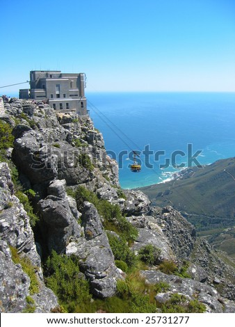 Cable car approaching the station on top of table Mountain, Cape Town, South Africa