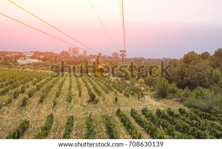 cable car cabin on a cable car in the mountains, on the ground you can see the grape field - Shutterstock ID 708630139