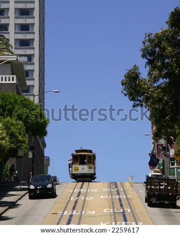 Cable car crests a hill in San Francisco California silhouetted against a deep blue sky