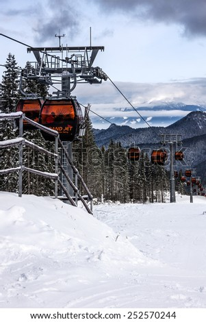 Cable car in Jasna winter resort, Slovakia #252570244
