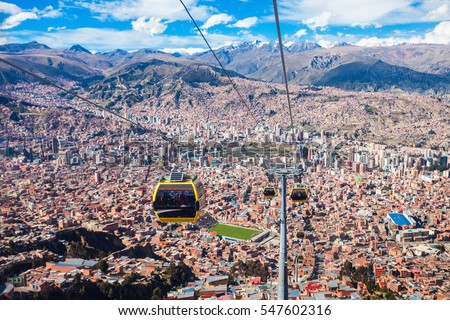 Shutterstock Cable car in La Paz city, Bolivia