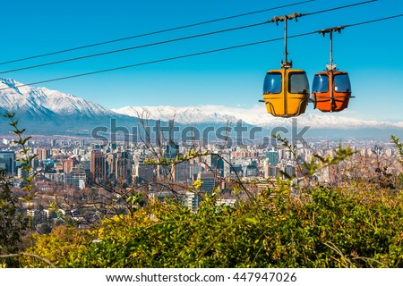 Shutterstock Cable car in San Cristobal hill, overlooking a panoramic view of Santiago de Chile