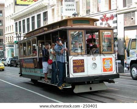 Cable car in San Francisco, California, U.S.A.