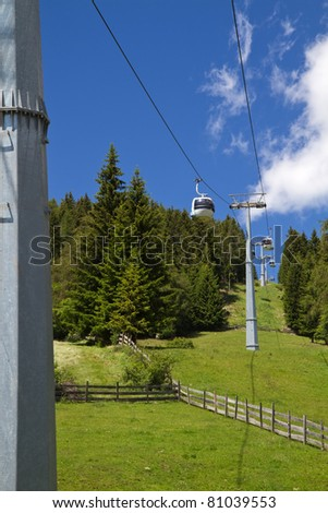 Cable car in South Tyrol, Italy, with blue sky