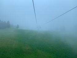 cable car in the fog