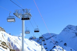 cable car in the mountains in winter