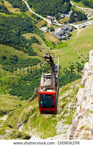 Cable car of Fuente De in Picos de Europa. Cantabria, Spain