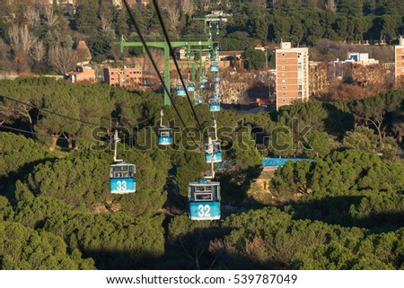 Shutterstock Cable car over casa de campo park in Madrid, Spain.