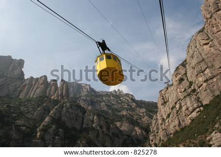 Cable car ride to Montserrat in Spain.