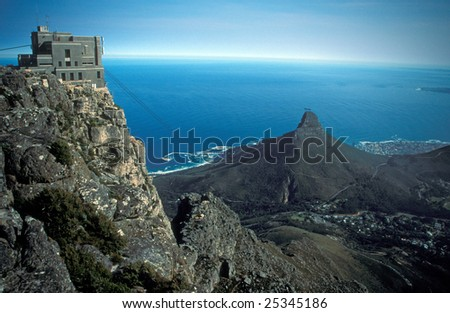 Cable car station on top of table Mountain, Cape Town, South Africa.