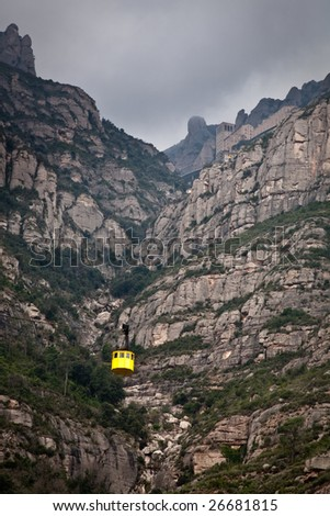 Cable car to the top of Montserrat, Spain