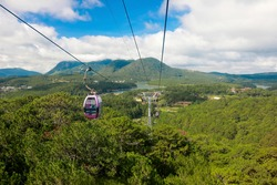 Cable car tour at Dalat Vietnam. Travel concept.