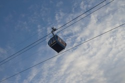 Cable car transporting people. Cable way in Batumi. Funicular Cable Railway