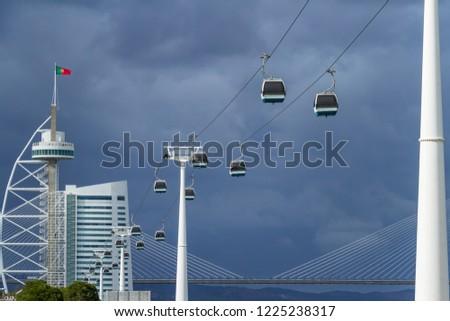 Cable car, Vasco da Gama tower and Ponte Vasco de Gama brigde  in Lisbon, Portugal #1225238317