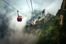 Cable Car way to Tianmen mountain national park,Hunan province,China